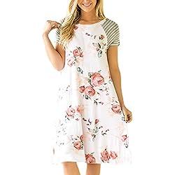HOTAPEI Women's Casual Short Sleeve A-line Loose T-Shirt Dresses Floral Shift Dress