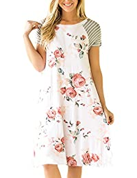 Women's Floral Print Casual Short Sleeve A-line Loose T-Shirt Dresses Knee Length