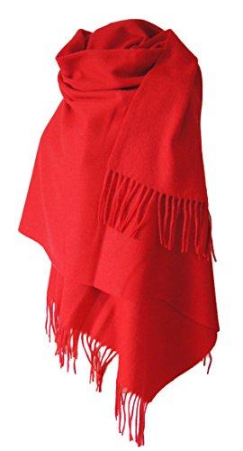 Echarpe étole chale en laine et cachemire grande épaisse et chaude (ROUGE)