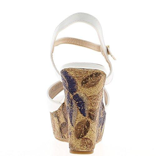 Sandalias de cuña blanco Tacon 11 cm y bandeja