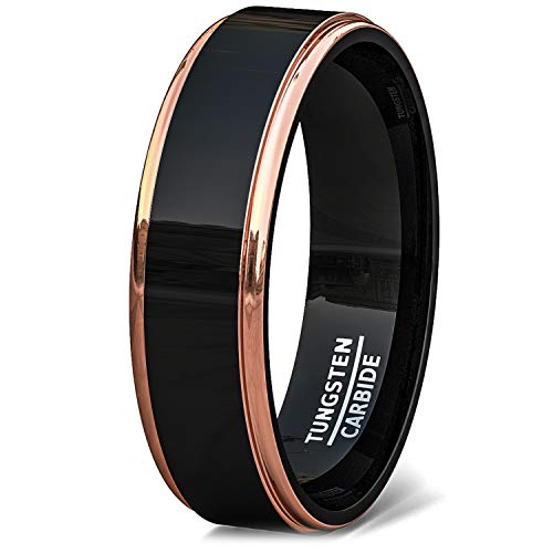 Tone Two Ring Rose (Duke Collections 6mm Tungsten Ring Rose Gold Step Edge Black Polished Comfort Fit (9.5))