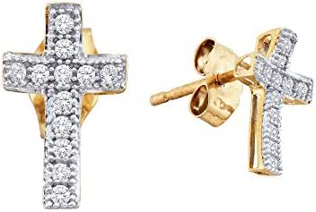10kt Yellow Gold Womens Round Diamond Cross Earrings 1/10 Cttw
