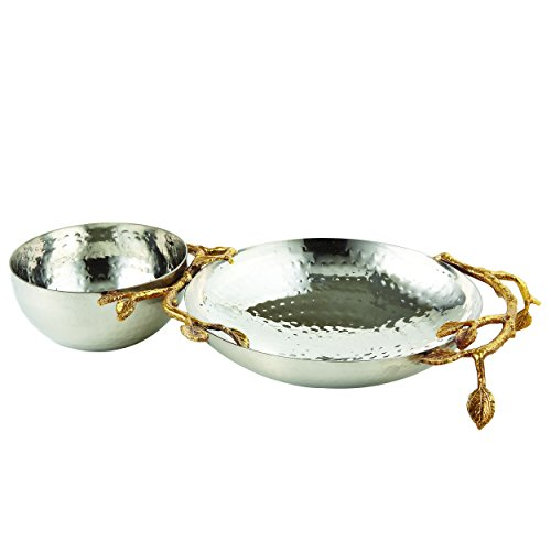Elegance 70041 Golden Vine Hammered Chip & Dip, Gold/Silver by Elegance