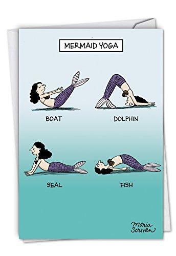 (C6375BDG Mermaid Yoga: Humorous Birthday Card, with Envelope.)