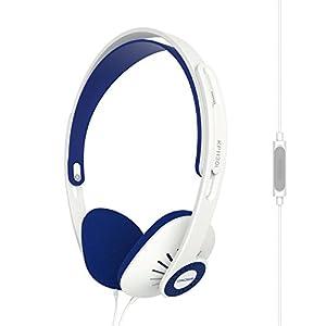 Koss KPH30iw On-Ear Headphones | In-Line Microphone & Remote | Lightweight | Deep Bass | White & Blue