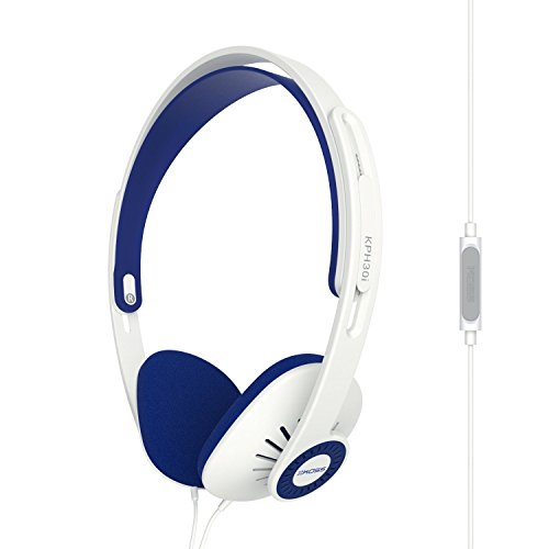 Koss KPH30iw On-Ear Headphones | In-Line Microphone & Remote | Lightweight | Deep Bass | White & Blue