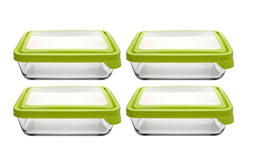 Anchor Hocking TrueSeal Glass Food Storage Containers with Airtight Lids, Green, 6 Cup (Set of 4)