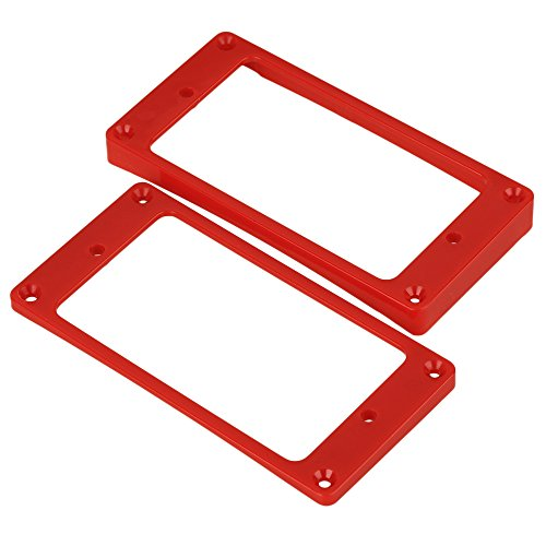 Mxfans 2 x Red Arc-shaped Guitar Humbucker Pickup Frame Cover Plate Mounting Rings