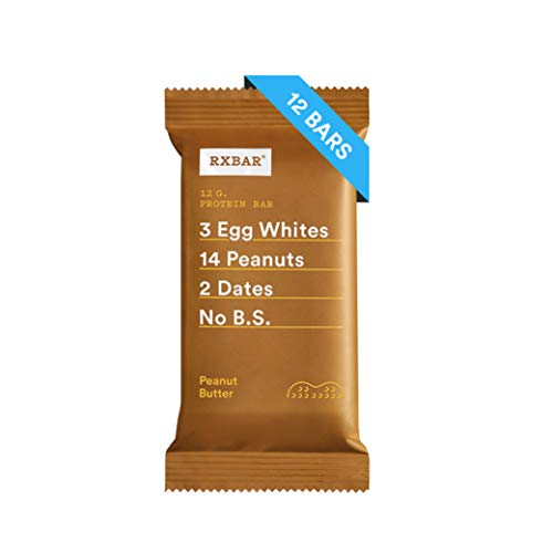 RXBAR, Peanut Butter, Protein Bar, 1.83 Ounce (Pack of 12) Breakfast Bar, High Protein Snack ()