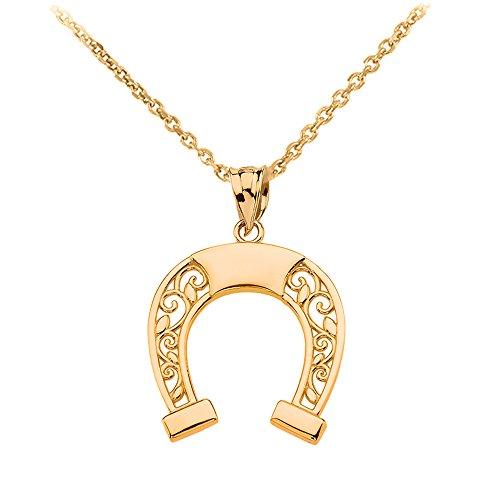 """10k Gold Filigree Horseshoe Lucky Charm Pendant Necklace, 16"""""""