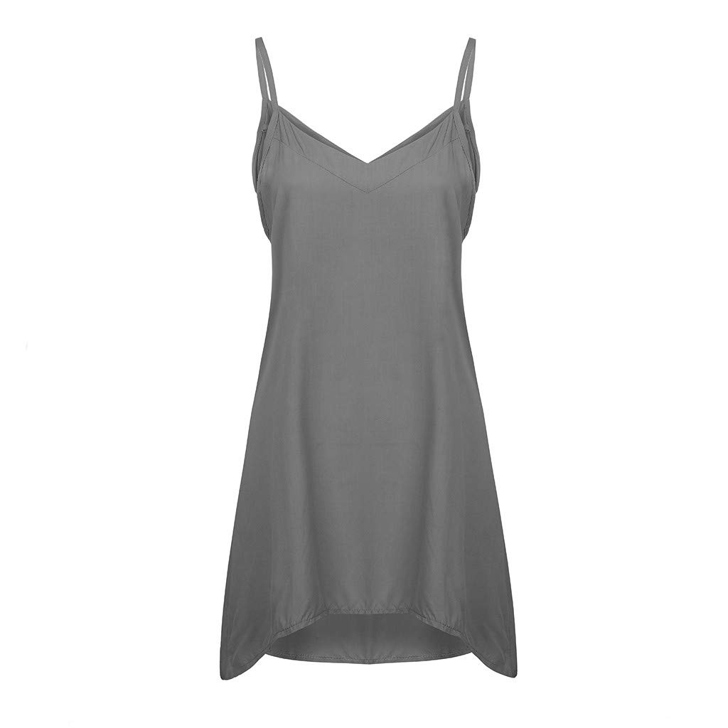 Womens Plus Size V-Neck Camis Solid Camisole Sleeveless Casual Loose Tops Tunic T-Shirt Vest Blouse (Dark Gray, M)