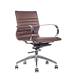 Premium PU Leather Soft Pad Executive Management Office Replica Chair Swivel and Polished Aluminium Frame - Ribbed Mid Back Version (Brown)