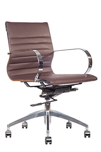 Premier PU Leather Soft Pad Executive Management Office Replica Chair Swivel and Polished Aluminium Frame - Ribbed Mid Back Version (Brown)