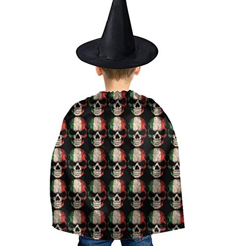 Canada Themed Halloween Costumes (Canada Flag Skull Halloween Costumes Set Deluxe Dress Cloak with Hat for Kids Child)