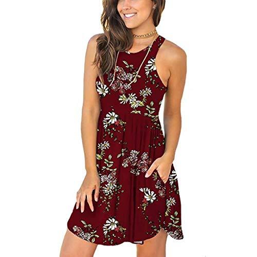 2f53a56389 MURTIAL Women s Beach Tank Dress Summer Casual Sleeveless Party T Shirt  Poeted Cover Ups Mini Skirt