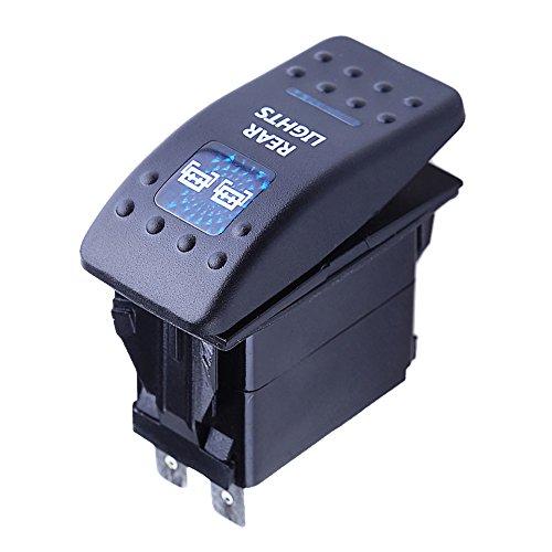 E Support Car Motor Boat Blue LED Rear Light Rocker Push Button Toggle Switch