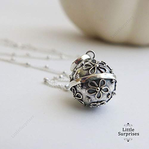 12mm Small Daisy Flower Chime Sound Harmony Ball Sterling Silver Pendant 16