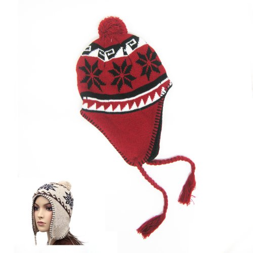 Peruvian Beanie Knit Winter Hat Warm Cap Snowboard Ski Earflap Men Women Red !