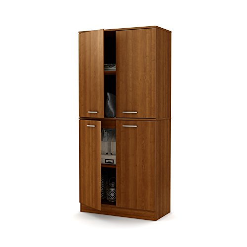 South Shore Axess Tall 4-Door Storage Cabinet with Adjustable Shelves, Morgan Cherry
