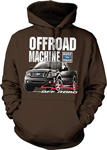(Hoodteez Ford F-150, Offroad Machine Built Ford Hooded Sweatshirt, S Brown)
