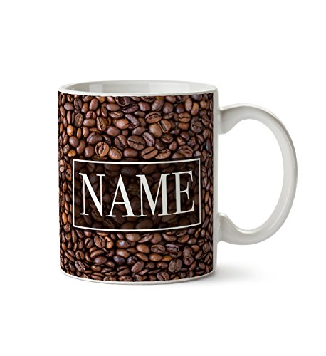 Roasted Coffee Beans Pattern Style1 Custom Personalised Mug Customizable Add Your Text Name Quote Initials Gift Ceramic Mug Cup For Coffee Tea ()