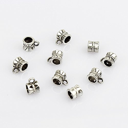 LolliBeads (TM) Assorted Big Hole Dangle Charm Hanger Beads Tube with Loop Antiqued Silver Tibetan Metal Pewter Charm Bracelets Spacers, RS89 (50 Pcs) ()