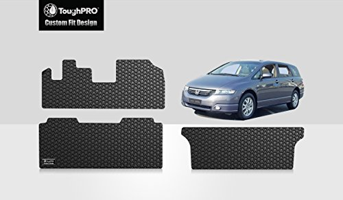ToughPRO Floor Mats 1st, 2nd and 3rd Row Set Compatible with Honda Odyssey - All Weather - Heavy Duty - Black Rubber - 1999-2004