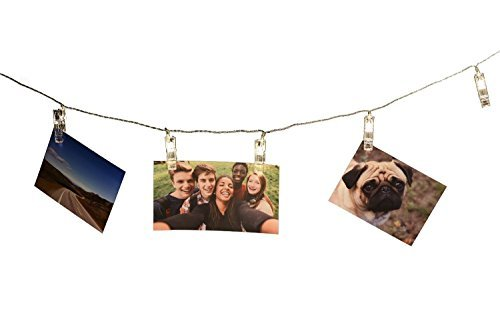 Fding Cadena de Luces LED para Fotos, 10 Clips de Fotos Transparentes, Alimentado por USB, Multicolor, Perfecto para Colgar...