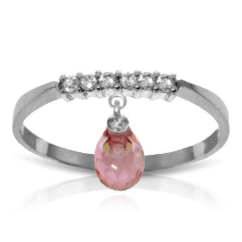 14k White Gold Genuine Diamonds and Pink Topaz Charm Ring - Size 7.5