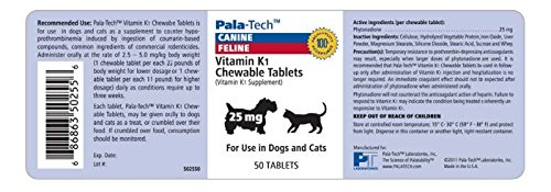 Pala-Tech Vitamin K1 Chewable Tablets For Dogs & Cats, 25 mg, 50 Tablets by Unknown