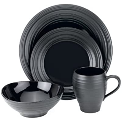 Click for Mikasa Swirl Black 4-Piece Place Setting, Service for 1