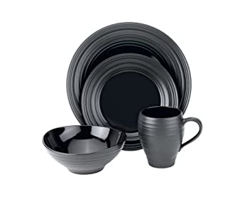 Mikasa Swirl Black 4-Piece Place Setting, Service for 1
