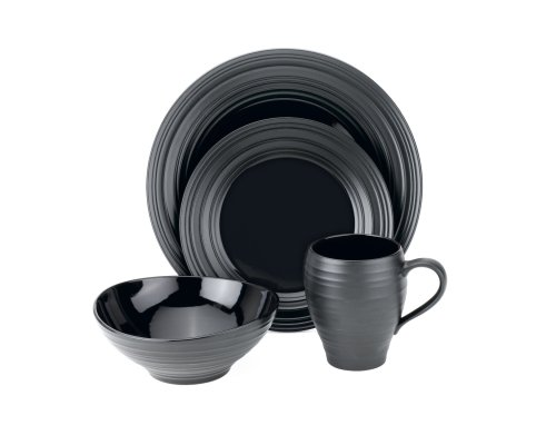 - Mikasa Swirl Black 4-Piece Place Setting, Service for 1