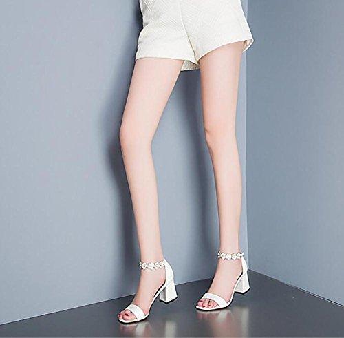 Sandalias femeninas del verano 2017 nuevas sandalias de cuero abierto de tacón alto de los zapatos de cuero de las sandalias de tacón alto 4