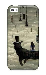 XiFu*MeiNew Style DanRobertse Hard Case Cover For Iphone 5c- Alice Wonderland Alice In Wonderland Animal Cat Cheshire Cat Clouds Dress HatXiFu*Mei