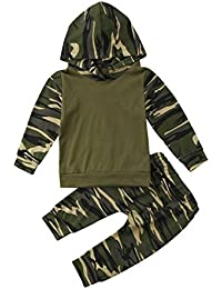 Baby Boy Camouflage Print Hoodie Top Long Sleeve Sweatshirt Pullover Pants 2PCS Outfits Clothing