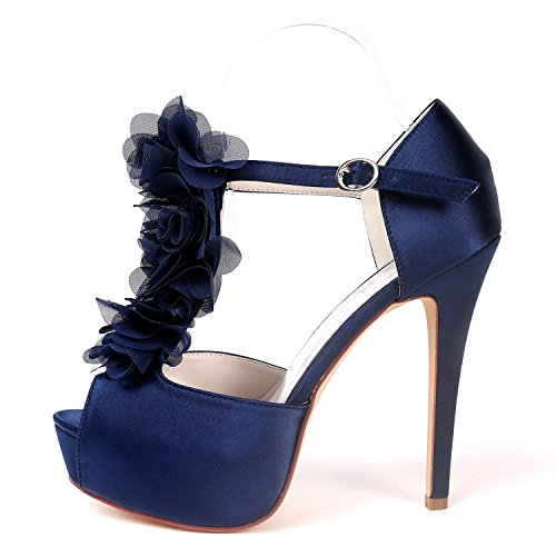 Low Satin High Like Kitten De Zapatos Bridal Heel Boda Navy Buckle yc Mujer Blue L Heels Chunky 5cm 12 Evening Z76Yw