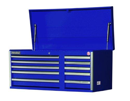 International VRT-4210BU 42-Inch 10 Drawer Blue Tool Chest with Heavy Duty Ball Bearing Drawer Slides - 42