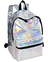 EBTOYS Girls School Bag School Backpack Holographic Laser PU Leather School Bookbag Travel Casual Daypack (Sliver)