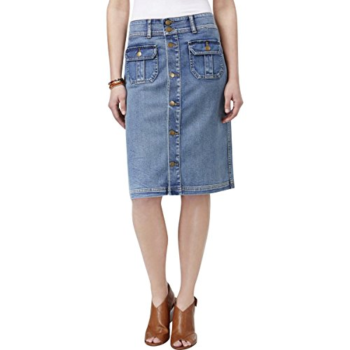 Style & Co. Womens Casual Pleated Denim Skirt Blue 6