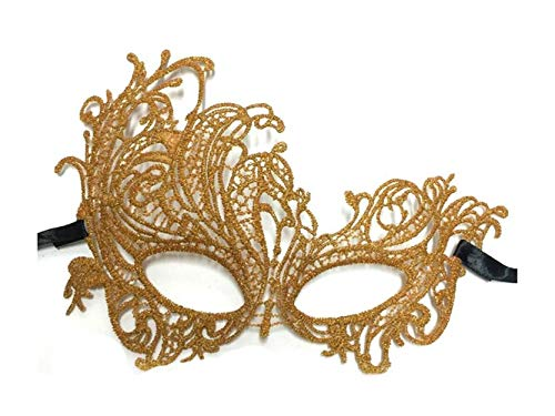 Junson Happy Creative Masquerade Lace Mask Halloween Venetian Half Face Cutout Mask (Golden) for -