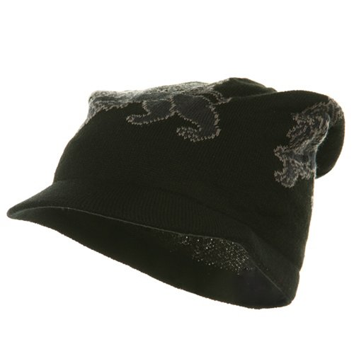 Regular Lion Rasta Beanie Visor Hat-Black Grey
