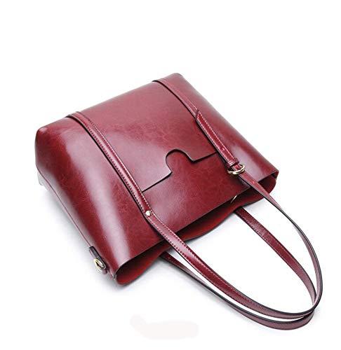Bag Vintage Big lap Shoulder Oil Hundred A Single Wax Tote Hongge Cow Female Fashion x6qHfUw