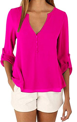 Sumtory Women's 3/4 Cuffed Sleeve Chiffon Blouse Button V Neck T Shirt(S-5XL) – Small, RoseRed