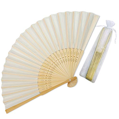 Hand Fans For Wedding (Sparkly Time Silk Bamboo Hand Held Fans with Organza Gift Bag - Perfect Wedding Fans (Beige/Ivory, 25)