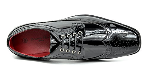 Bruno Marc Heren Ceremony Faux Laklederen Jurk Oxfords Loafers Schoenen 1-zwart