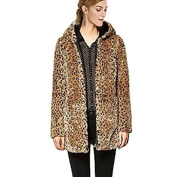 XI & Soso Abrigo de Invierno Capucha Pelo de Leopardo Print Faux Mujer, Screen Color