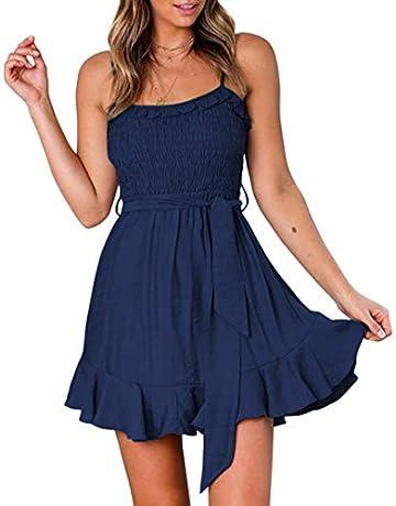 9c43ef467c550 TECREW Womens Summer Boho Floral Short Mini Dresses Spaghetti Strap A Line  Beach Dress