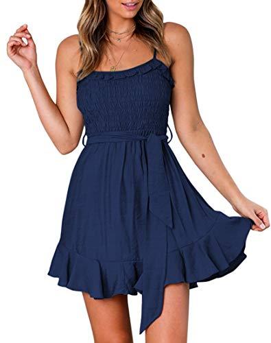 (YIBOCK Women's Summer Spaghetti Strap Solid Color Ruffle Hem Tie Waist Backless Mini Dress Navy)
