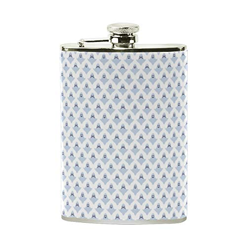 Halloween Smiley Ghost Light Blue Stainless Steel Hip Flask 8 oz for Liquor in a Gift Packaging, Luxury Top shelf flasks Pocket Flask Drinking for Any Occasion. An Outstanding Gift for Men or Women. -